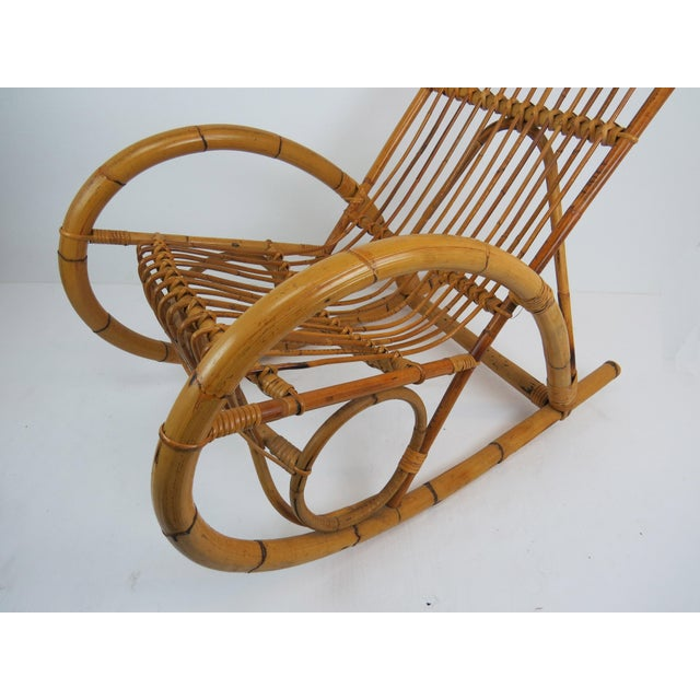 Brown Vintage Franco Albini Style Bamboo Rocking Chair For Sale - Image 8 of 13