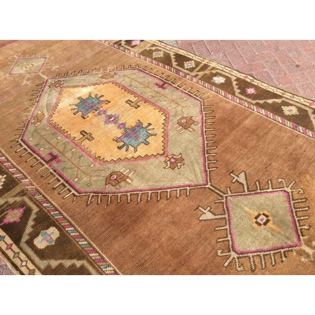 Hand Knotted Brown Turkish Rug For Sale - Image 9 of 12