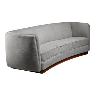 Ole Wanscher curved sofa on platform frame, Denmark, 1940s