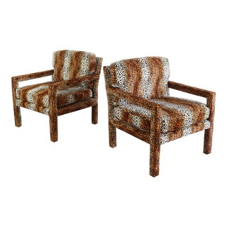 Club Chairs by Milo Baughman for Thayer Coggin in Animal Print - a Pair For Sale