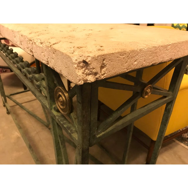 Traditional Coral Stone Top, Verdigris Wrought Iron Console, W/ Brass Accents For Sale - Image 3 of 8