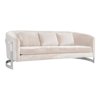 Milo Baughman Mid-Century Modern Cantilever Curved Chrome Sofa For Sale