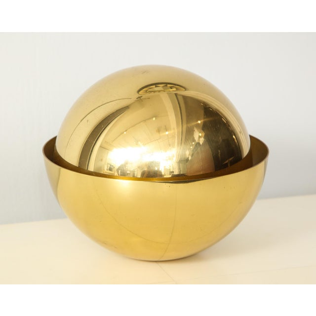 Bespoke sphere brass desk lamp by Bernard Figueroa. This lamp can be crafted in a variety of finishes. It will take 14-15...