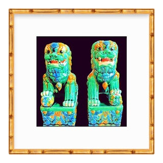 Abstract Illustration of Vintage Chinoiserie Food Dogs Giclee Art & Custom Gold Bamboo Wood Frame For Sale