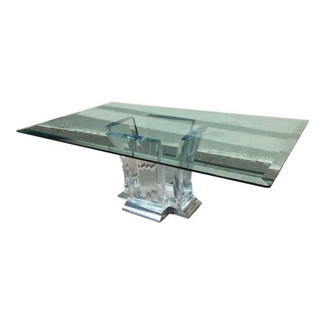 Glass 1980's Jeffrey Bigelow Lucite & Nickel Dining Table For Sale - Image 7 of 7