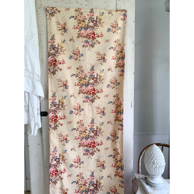 Mid 20th Century Vintage French Shabby Chic Roses Pattern Curtain For Sale - Image 5 of 10