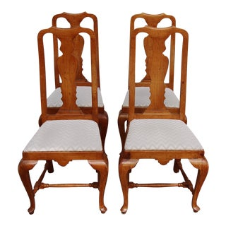 Vintage Queen Anne Walnut Dining Chairs - Set of 4