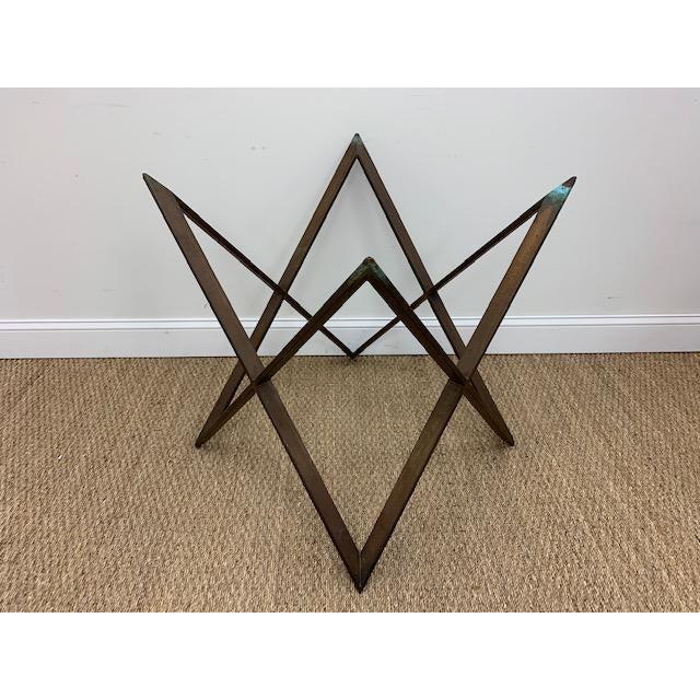 Mid Century Bronze Interlocking X Table Base For Sale - Image 4 of 12