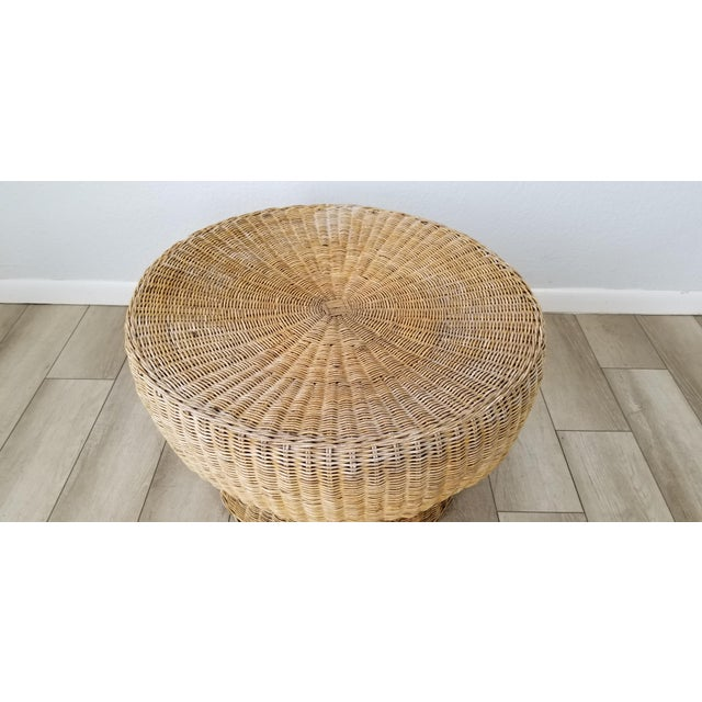 1960's Postmodern Eero Aarino Attributed Wicker Chairs and Coffee Table - Set of 3. For Sale - Image 10 of 13
