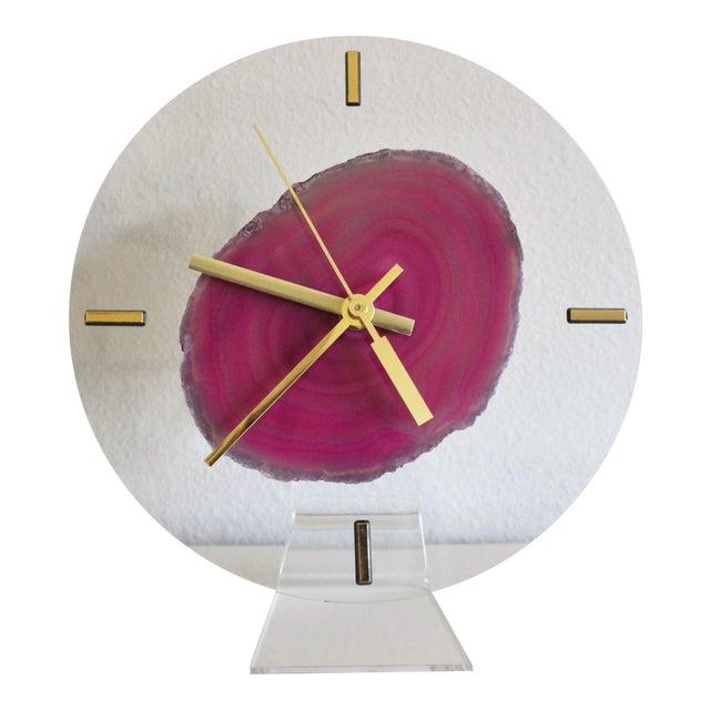 Modern Fuchsia Pink Agate & Acrylic Clock - Image 1 of 6