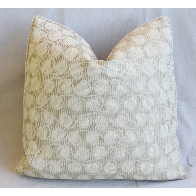 """Early 21st Century Italian Embroidered Silk & Leather Feather/Down Pillows 21"""" Square - Pair For Sale - Image 5 of 13"""