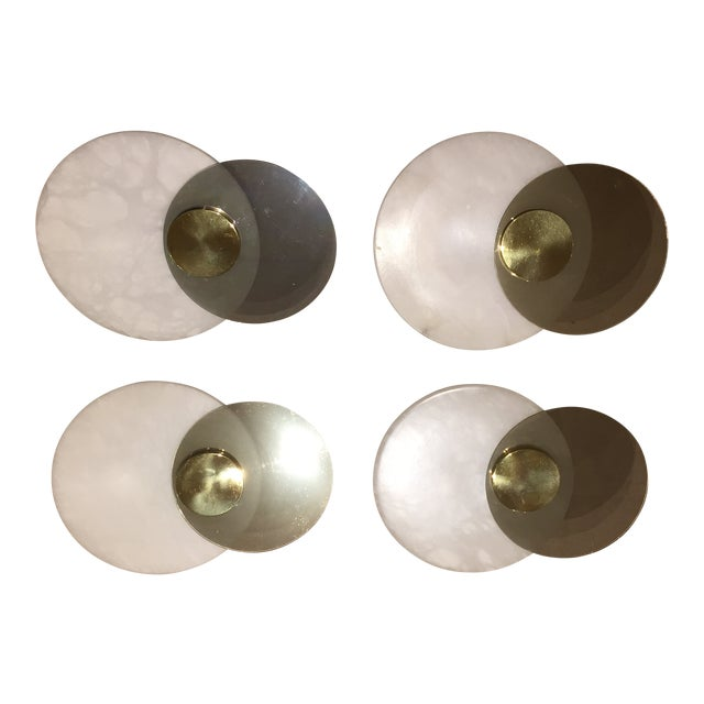 Lightolier Mid-Century Alabaster & Brass Wall Sconces - Set of 4 For Sale