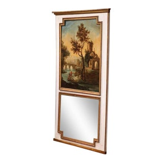Large 18th Century French Painted Trumeau Mirror From Provence For Sale