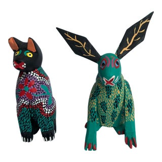 Late 20th Century Enrique R. Garcia Mexican Folk Art Cat and Rabbit - 2 Pieces For Sale