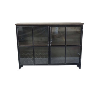 Contemporary Odila Glass Door Bar Cabinet With Bottle and Glass Storage For Sale