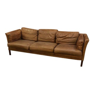 1960s Vintage Leather Three Cushion Sofa For Sale