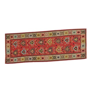 Mid 20th Century Bessarabian Hand-Woven Kilim Rug-3′7″ × 9′10″ For Sale