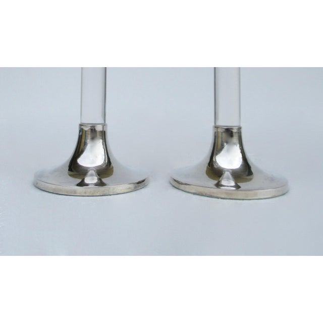 Vintage Mid-Century Karl Springer-Style, Lord & Taylor Silver Plate & Lucite Candle Holders -A Pair For Sale - Image 9 of 13