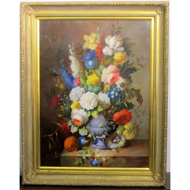 "This is an impressive still life with floral bouquet, in the old Dutch School manner. Oil on canvas measures 40"" x 30""...."