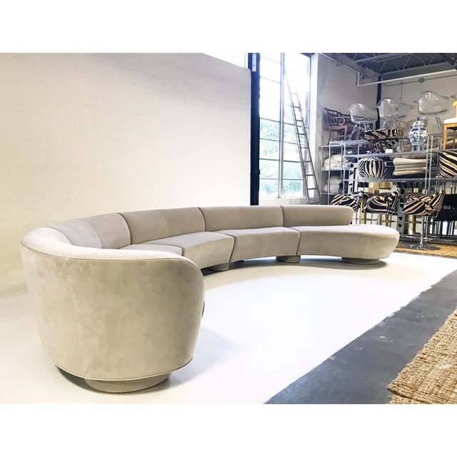 Mid-Century Modern Vintage Vladimir Kagan for Directional Cloud Sofa Restored in Loro Piana Grey Velvet For Sale - Image 3 of 10