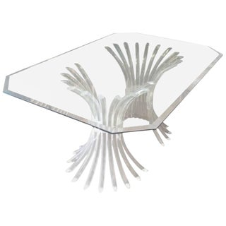 Vintage Lucite and Double Pedestal Dining Table