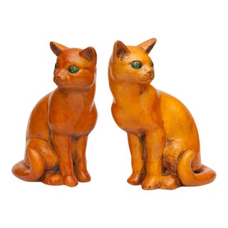 Rare English Art Deco Ceramic Cat Bookends, C. 1930s For Sale