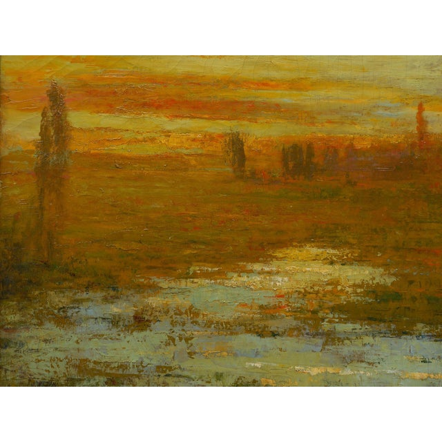 "Green ""September Harmony"" (1910) Tonalist Painting Oil on Canvas by Karl Emil Termöhlen For Sale - Image 8 of 13"