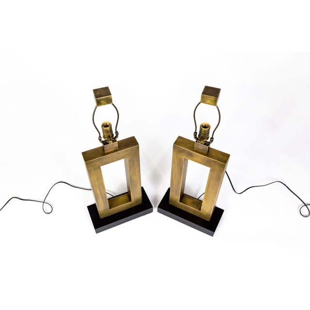 Contemporary 1970s Rectangular Antiqued Brass Table Lamps - a Pair For Sale - Image 3 of 11