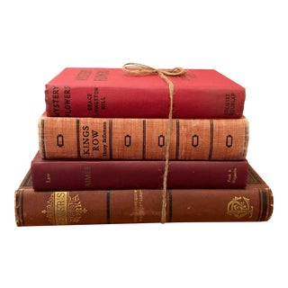 Vintage Warm Toned Decorative Books - Set of 4 For Sale
