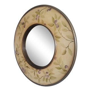 Hand Painted Round Plum Mirror For Sale
