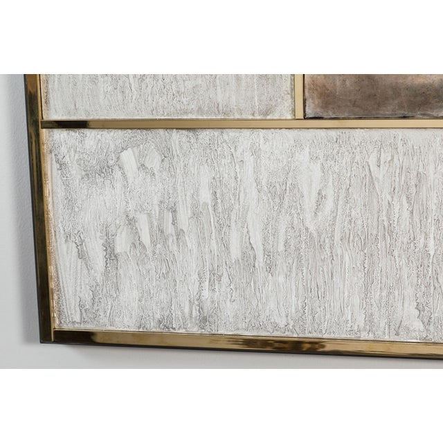 Art Wall Panel With Brass, Distressed Silver Leaf and Textured Finish by Paul Marra - Image 5 of 8