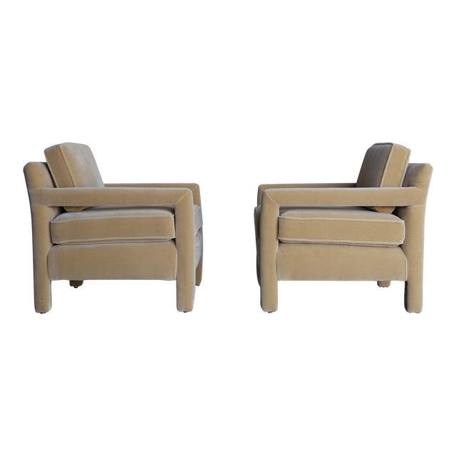 1970's Parsons Lounge Chairs in Mohair - a Pair For Sale
