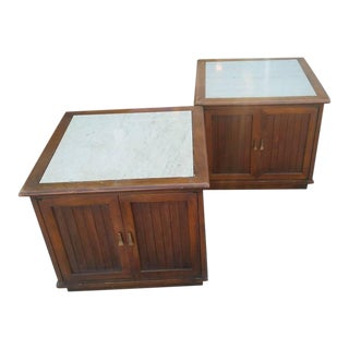 1960s Vintage Mid-Century Modern Cube Nightstands - A Pair For Sale