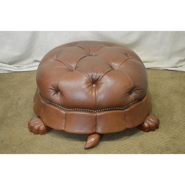 Fine Vanguard Large Tufted Leather Turtle Ottoman Ibusinesslaw Wood Chair Design Ideas Ibusinesslaworg