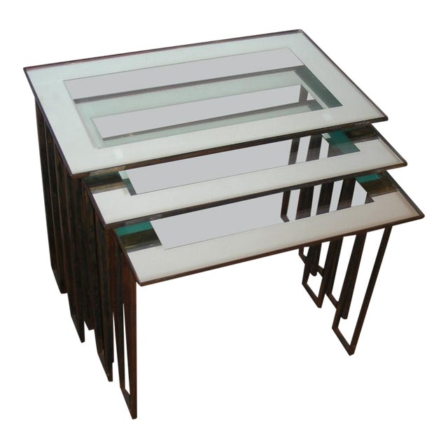 Jean Royère Three 1950s Nesting Tables With Base in Gilt Wrought Iron For Sale