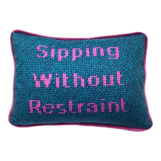 "Modern Variegated Turquoise Blue Toss Pillow, ""Sipping Without Restraint"", Original Design Custom Made For Sale"