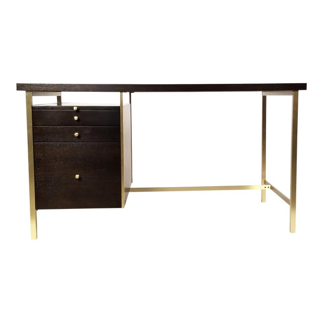 Paul McCobb Brass & Mahogany Desk for the Connoisseur Collection H. Sacks & Sons For Sale