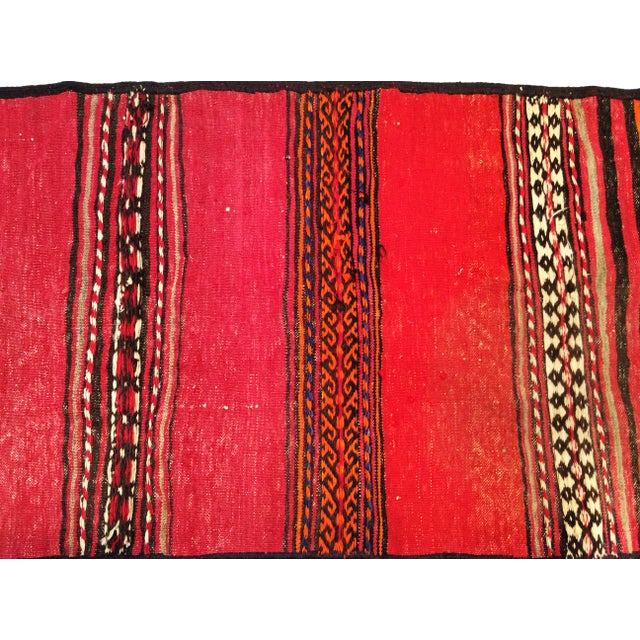 1950s Moroccan Red and Orange Wool Kilim Runner - Image 7 of 9