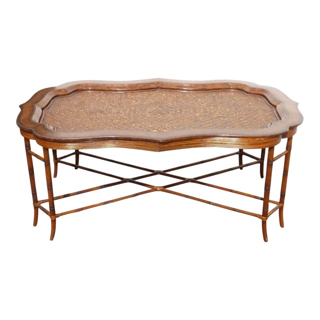 Maitland-Smith Rattan & Leather Coffee Table - Image 1 of 11