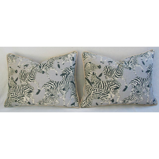"Late 20th Century Custom Safari Zebra Linen/Velvet Feather & Down Pillows 24"" x 18"" - Pair For Sale - Image 5 of 11"