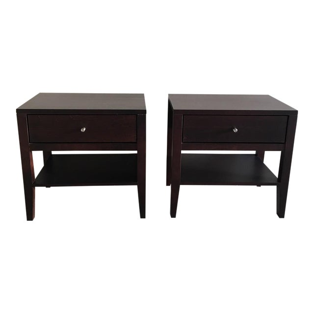 Room & Board Brown Wooden Calvin Nightstands - Pair For Sale