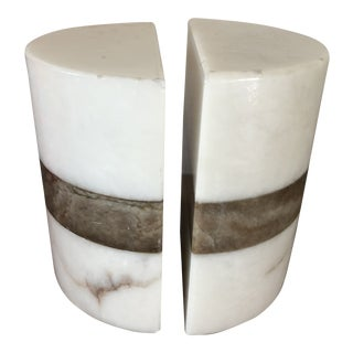Italian Marble Alabaster Onyx Bookends - a Pair For Sale