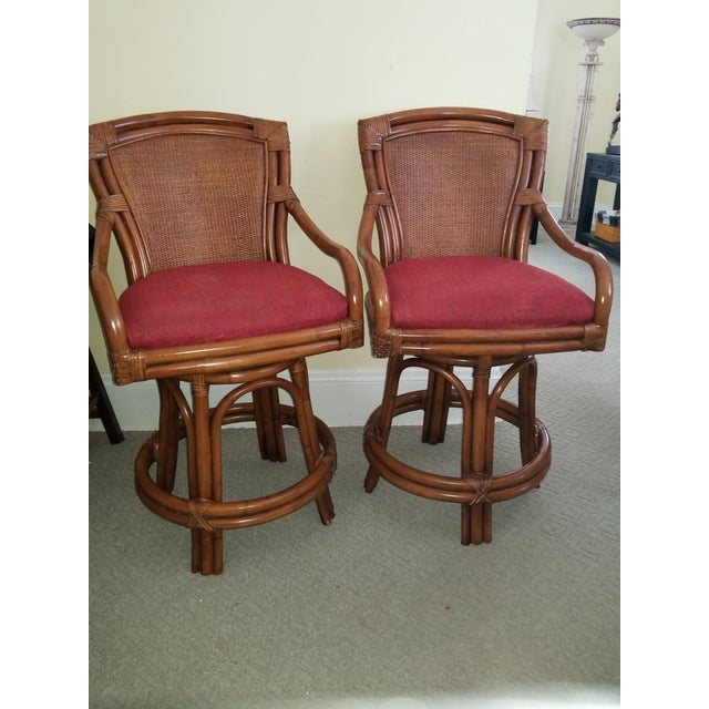 Rattan Bamboo Leather Swivel Bar Stools - a Pair For Sale - Image 11 of 13