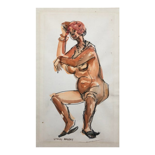 1950s Watercolor of a Seated Female Nude, Stanley Brodey For Sale