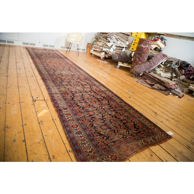 "Vintage Distressed Bijar Rug Runner - 3'7"" x 15'2"" - Image 3 of 10"