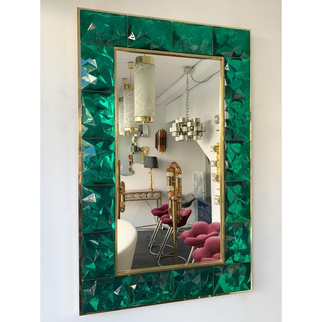 2020s Contemporary Brass Mirror Console with Green Murano Glass, Italy For Sale - Image 5 of 13