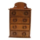 Image of Antique Oak Spice Apothecary Cabinet For Sale