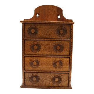 Antique Oak Spice Apothecary Cabinet For Sale