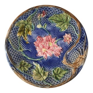 1880 Vintage French Majolica Pink Flowers Salins Plate For Sale