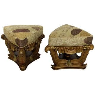 Art Deco Rococo Tabourets Foot Stools Italian Signed Mascheroni Gold Gilt, Pair